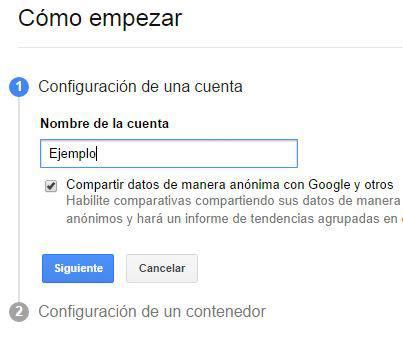 Primer paso al crear una cuenta en Google Tag Manager: introducir el nombre de la cuenta