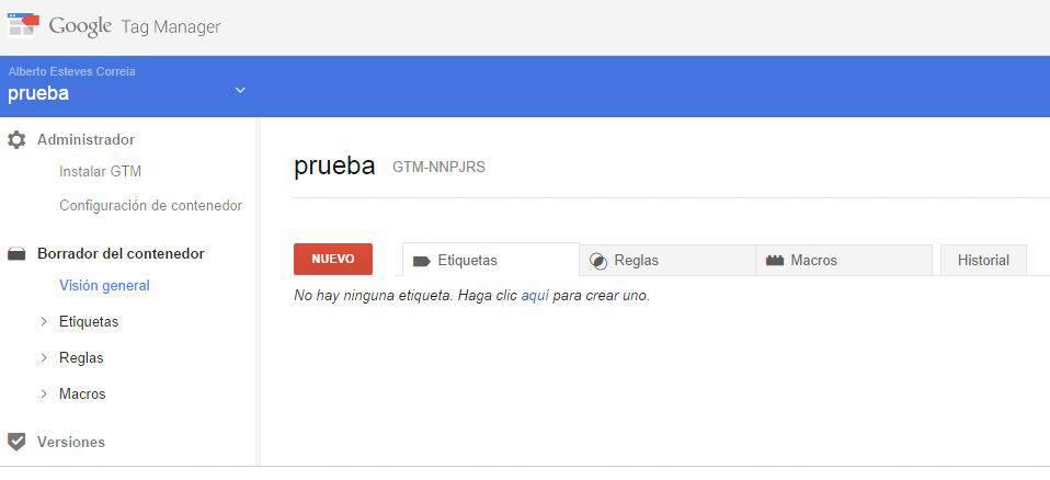 Captura de pantalla de la interfaz de Google Tag Manager