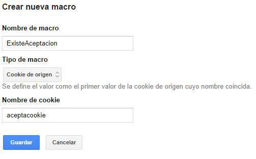 Parámetros que debe tener la Macro ExisteAceptacion en Google Tag Manager