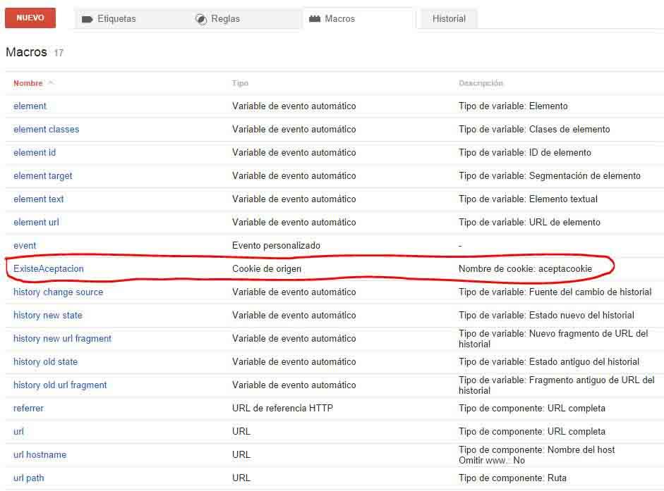 Listado Final de Macros en Google Tag Manager