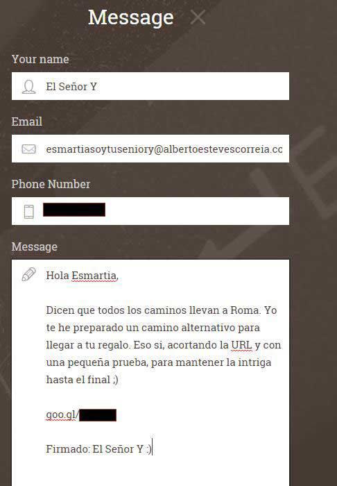 Segundo mensaje a través del formulario de contacto de su Web