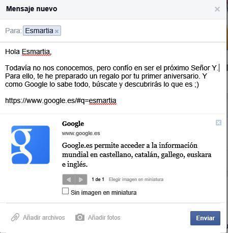 Mensaje privado enviado a la fanpage de Facebook de Esmartia