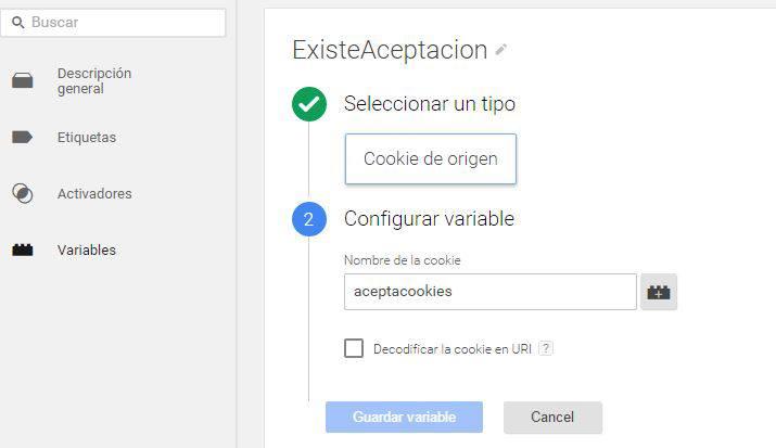 Varible ExisteAceptacion de tipo cookie de origen