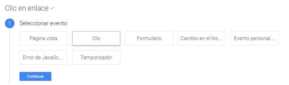 Tipo de Activador para Clic en enlace