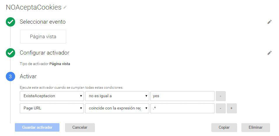 Activador NOAceptaCookies de Google Tag Manager