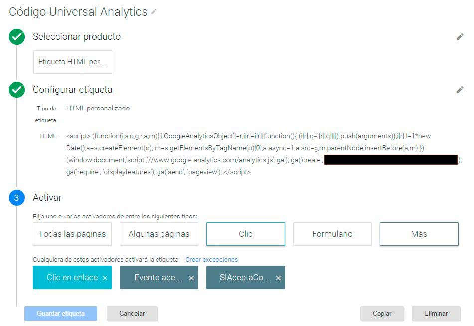 Etiqueta Codigo Google Analytics