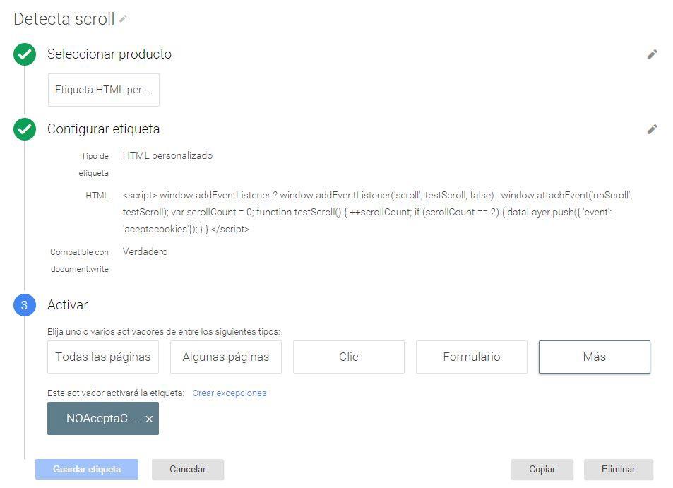 Etiqueta de Google Tag Manager Detecta scroll