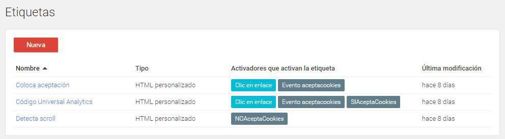 Listado final de Etiquetas en Google Tag Manager