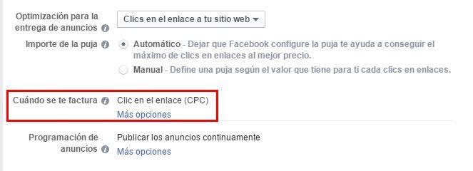 La opción de cobro por defecto de Facebook Ads ahora es Clic en el enlace CPC