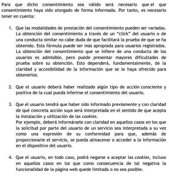 Guía de cookies de la AEPD - Títutlo II, apartado 3, punto B. Condiciones obtención del consentimiento