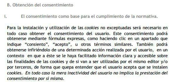 Guía de cookies de la AEPD - Títutlo II, apartado 3, punto B. Obtención del consentimiento