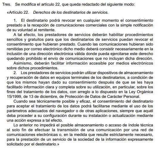 Real Decreto 13-2012 .- Modificación Artículo 22.2 de la LSSI