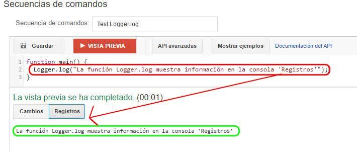 Resultados Logger.log en la consola de AdWords