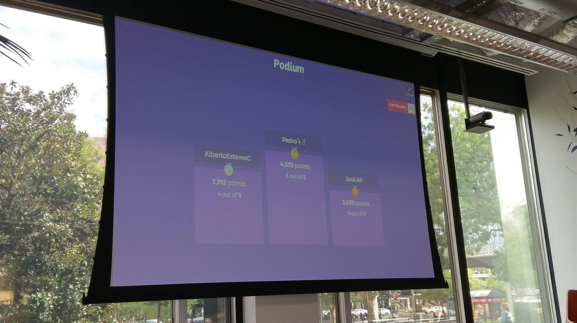 Fotografía del podium del test en el Facebook Blueprint Live
